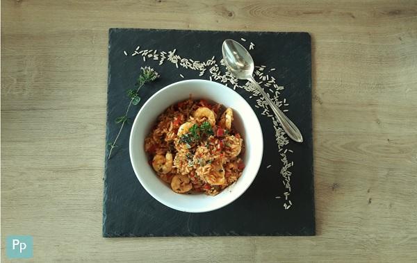 Oregano-Tomatenreis mit Garnelen